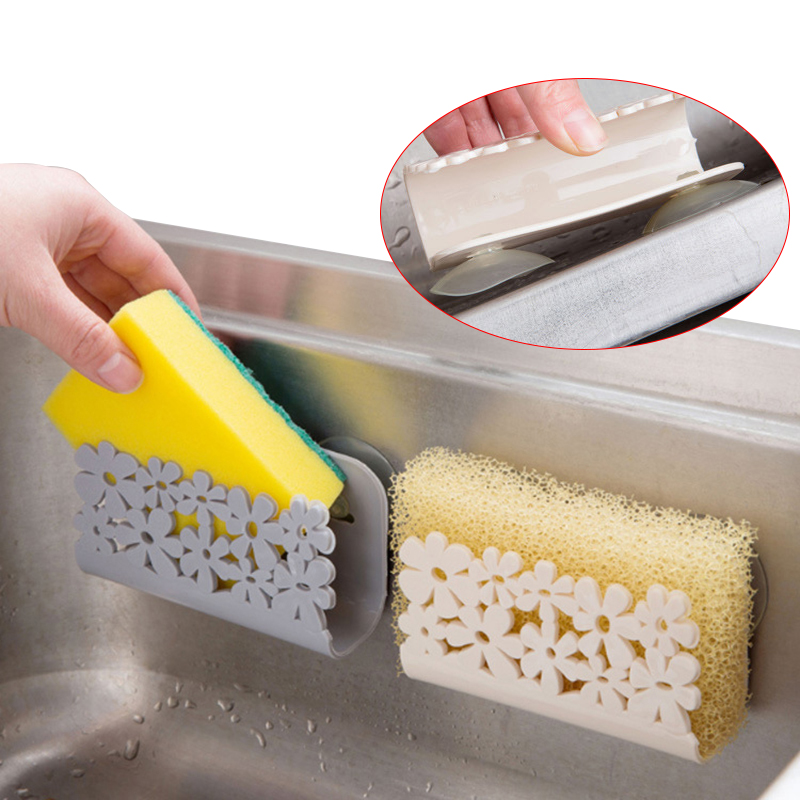 1pc Suction Sponge Holder Wall Mounted Plastic Sink Storage Rack For Soap Dish Sponge Drying Racks Kintchen Bathroom Organizer