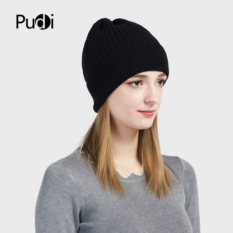 c7ff84303b56a Pudi HK703 THE NEW women knitted hat girls winter beanies caps skullies  navy blue women s winter hats-in Skullies   Beanies from Apparel  Accessories on ...