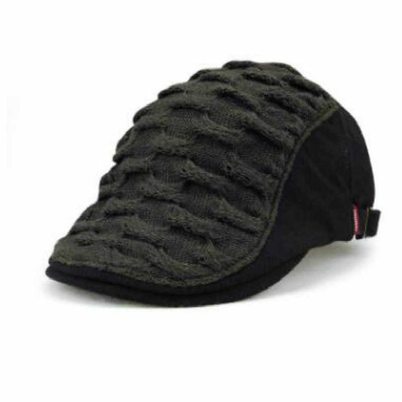 1ce94c8fa JAMONT Casual England Style Warm Winter Knitted Beret Hat Plain Flat Cap  Old Men Duckbill Bones Spring Autumn Gorras Casquette
