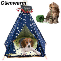 Comwarm Pet Teepee House Star Pattern Pet Cat Bed Puppy Pet House Portable Dog Tents Pet House Bed for Small Dogs with Cushion
