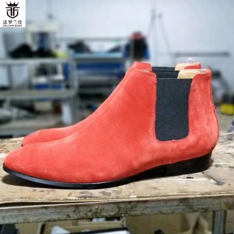 2018 FR.LANCELOT Brand Orange Suede Top Quality Flats Slip On Men Chelsea Boots Ankle Botas Low Top Men Shoes paddington on top