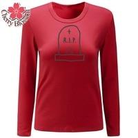 Cherry Blossom T Shirt Women Long Sleeve O Neck Tops Fashion Summer Autumn TShirts Underwear T