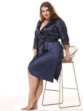 סקסי סאטן נשים חלוק משי תחרה מחוך קימונו גלימות חמוד ורוד גבירותיי חלוק Nightwear חלוק נשי עבור נשים בתוספת גודל