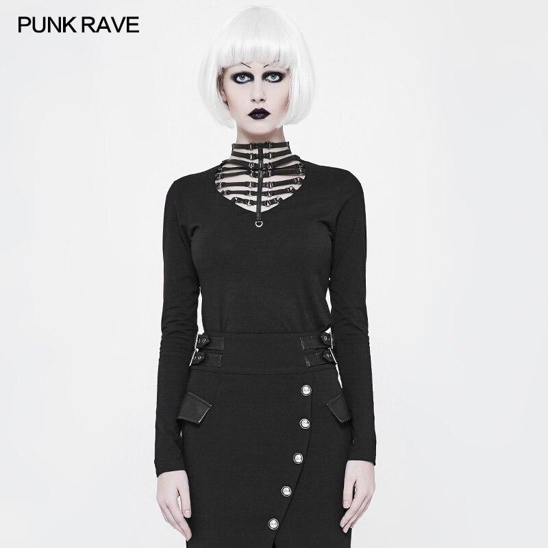Tricoté Coton Creux Wt519 Mode Gothique T shirt Emo Sorcières Rock Parti out Casual Punk Tops nqwH48YxXZ