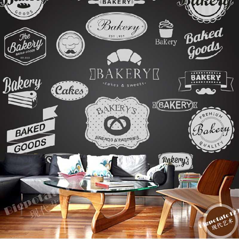 Papel de pared moderno 3D personalizado, icono de pastel de pan para el restaurante café pared de fondo de Bar impermeable PVC papel de pared