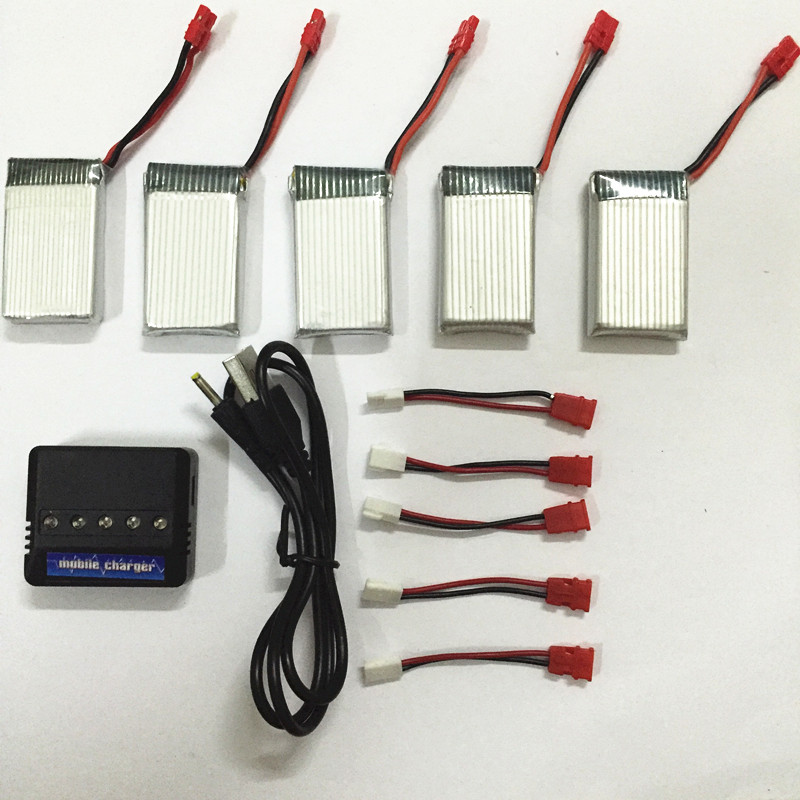 High quality 3.7V 850mAh LiPo Battery + 5in1 AC Charger usb Plug for SYMA X5hw SYMA X5hc RC Drone Quadcopter Spare Parts Set 4pcs 500mah lipo 4 in 1 usb charger set for syma x5hc x5hw quadcopter remote control drone model spare part replacement set