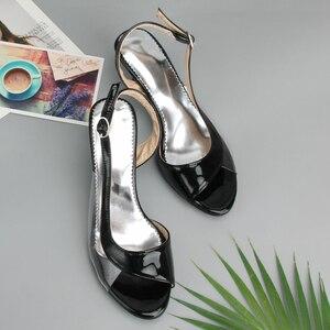Image 3 - Meotina Shoes Women Sandals Summer Ladies Sandals Transparent Neon Low Heels Designer shoes High Heels Yellow Big size 11 12 46