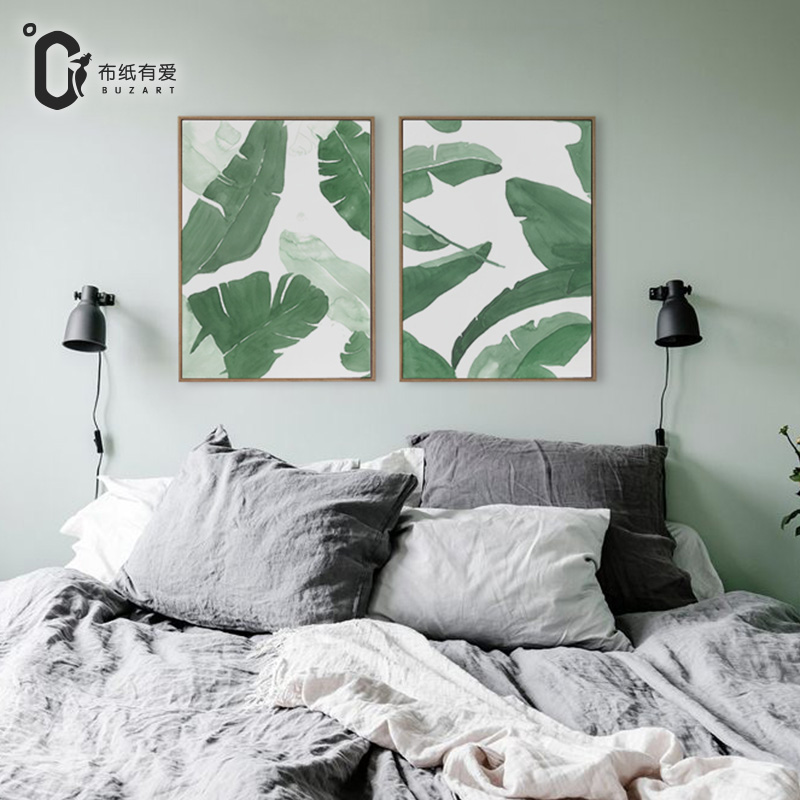 Green banana leaves modern art print on canvas gouache for Living room 12x16