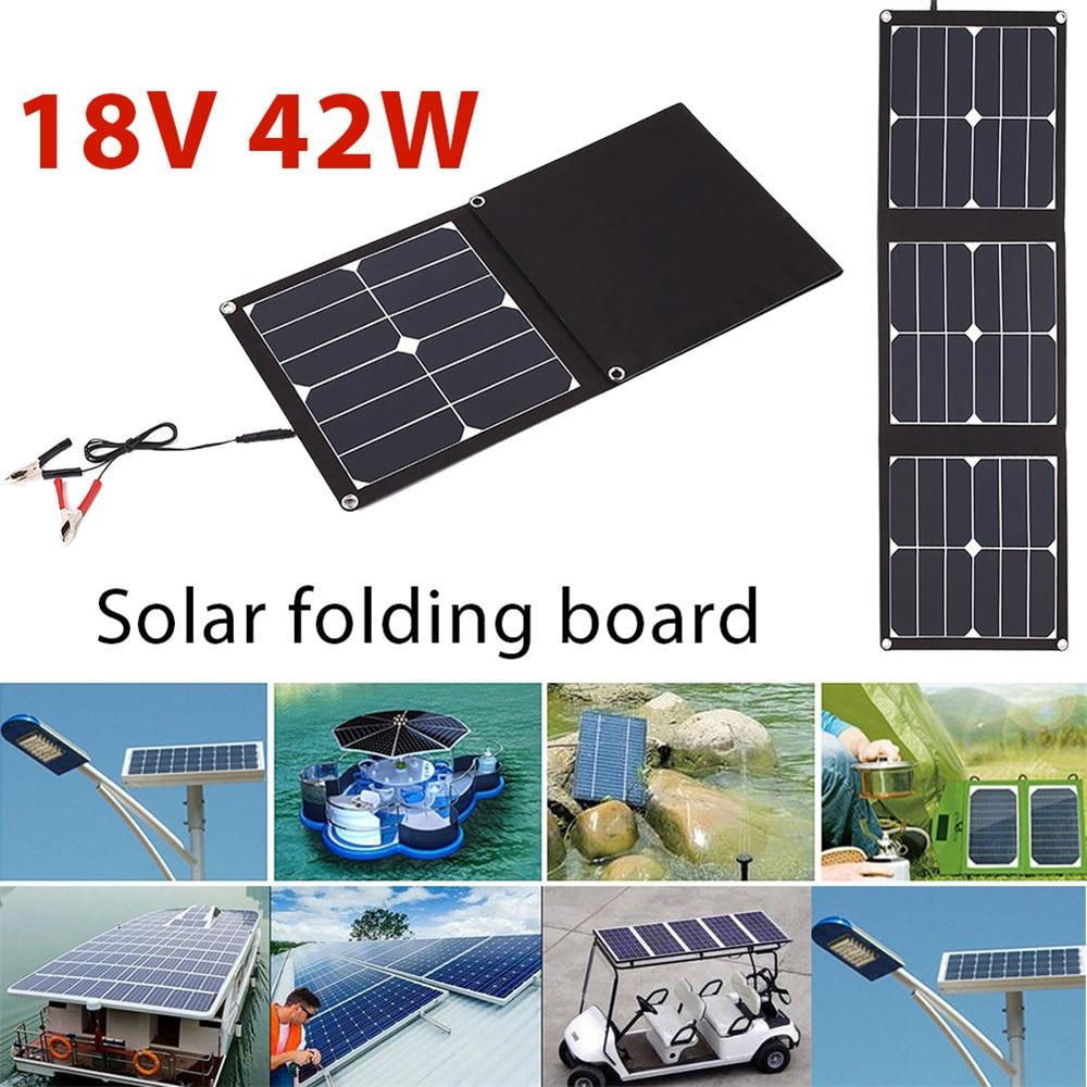 BCMaster Folding Solar Panel Emergency Power Supply Durable USB+DC Port 42W 18V Solar Light Phone Charger Waterproof цена