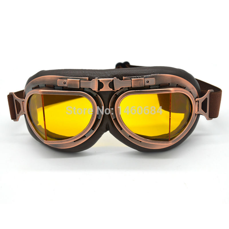 Evomosa New Universal Vintage Pilot Biker Motorcycle Goggles Glasses For Helmet Open Face Half Motocross Goggles For Harley Ktm