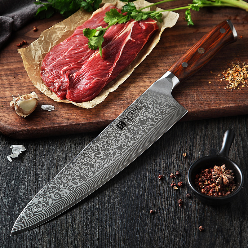 XINZUO 10 inch Chef Knife Japanese Damascus Stainless Steel Kitchen Knife Professional Gyutou Knife with Luxury Rose Wood Handle