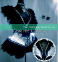 Free Shipping New White Feather Led Lights Clothes Luminous Dress With Leds Flashing For Girls