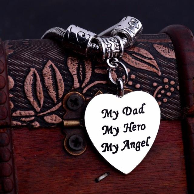 Love Heart Bracelet My Dad My Hero My Angel Pendant Bangle Family