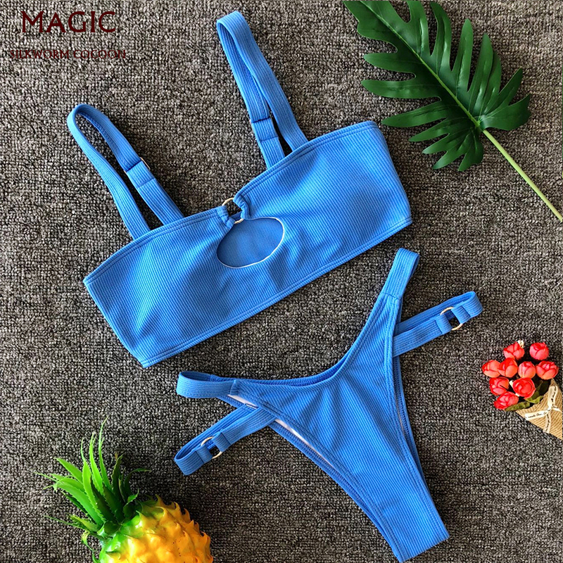 New Arrival Women Sexy Bikini Set Adjustable Hollow Top High Waist Thong Swimsuit Push-Up Brazilian Swimwear Beachwear Blue