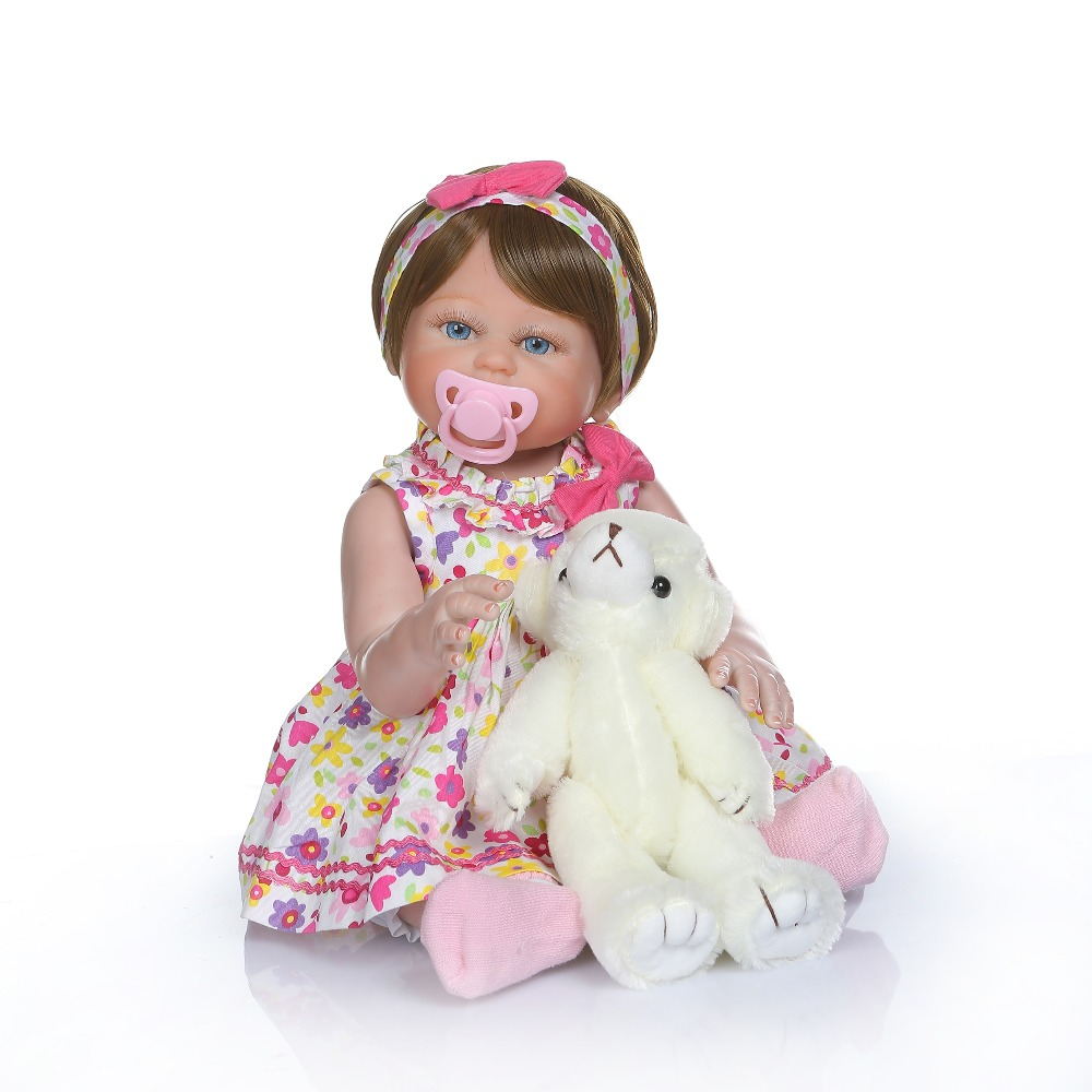 48cm mini Size bebes Reborn Toddler Doll Toy Lifelike Vinyl Baby With real baby Skirt Alive Girl princess Birthday party gift