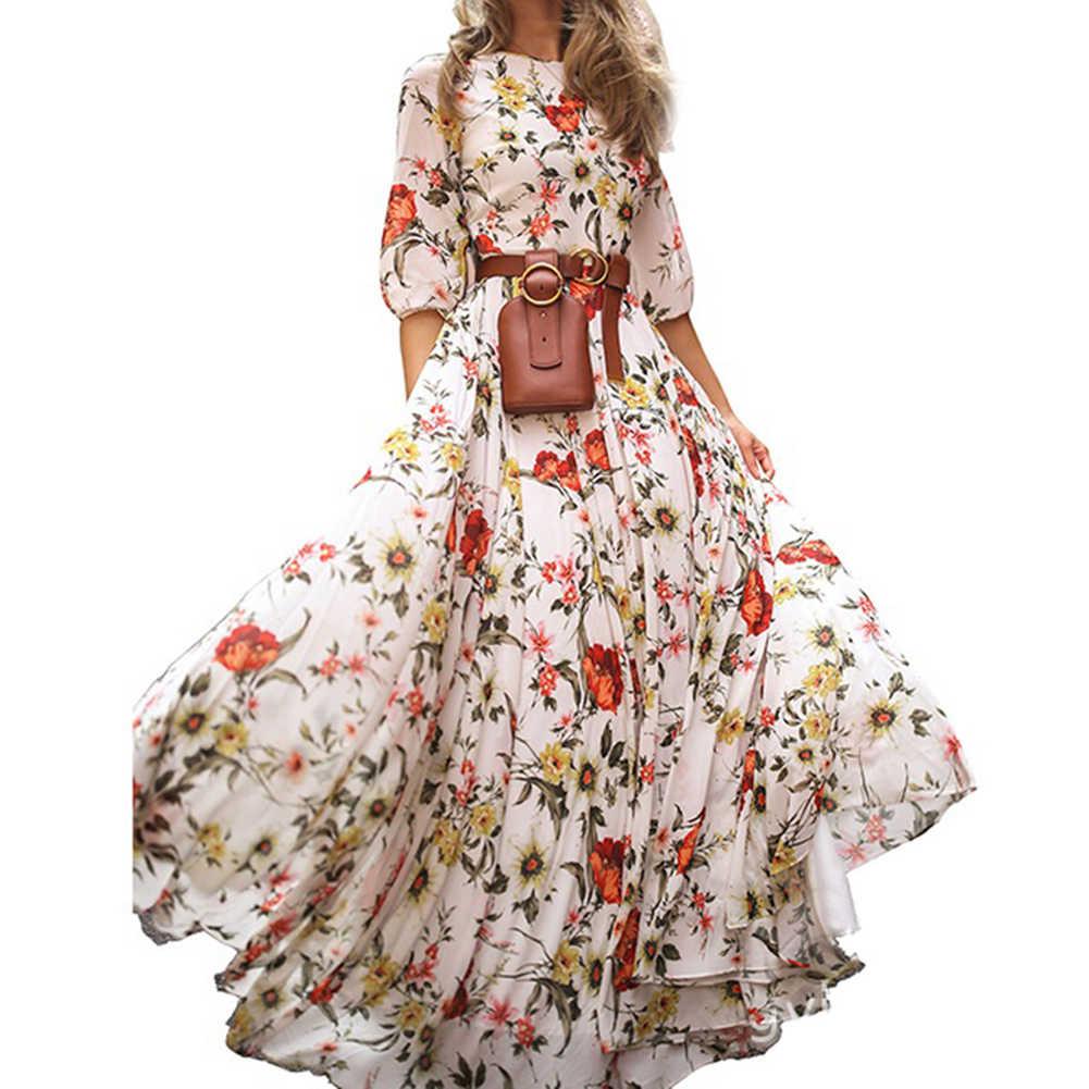 Dress Half Sleeve Chiffon Print Women Wrap Boho Floral Long Maxi Party Holiday