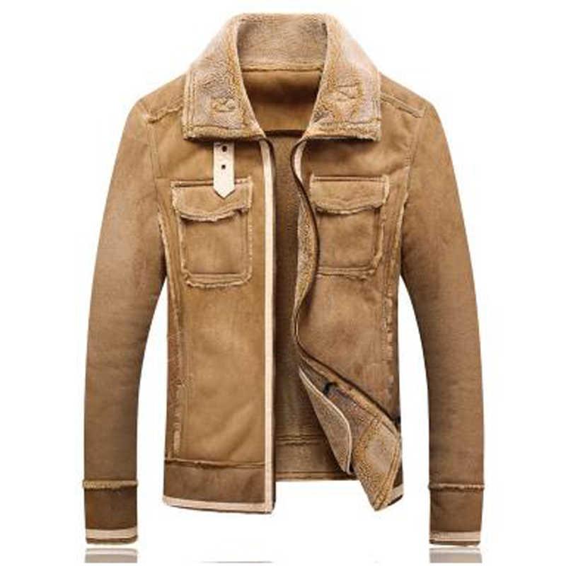 ヴィンテージ暖かい冬男性メンズ毛皮のコートの高品質 5XL プラスサイズメンズオーバーコート暖かい自動車スエード子羊の毛皮のジャケット男性 A330