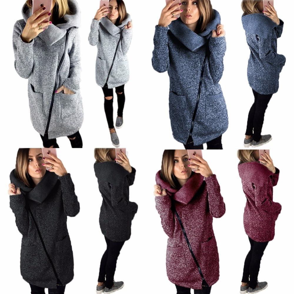 New Women Autumn Winter Coat Warm Jacket Slant Zipper Collared Long Coat Casual Clothing Overcoat Tops Female Overcoat Outerwear