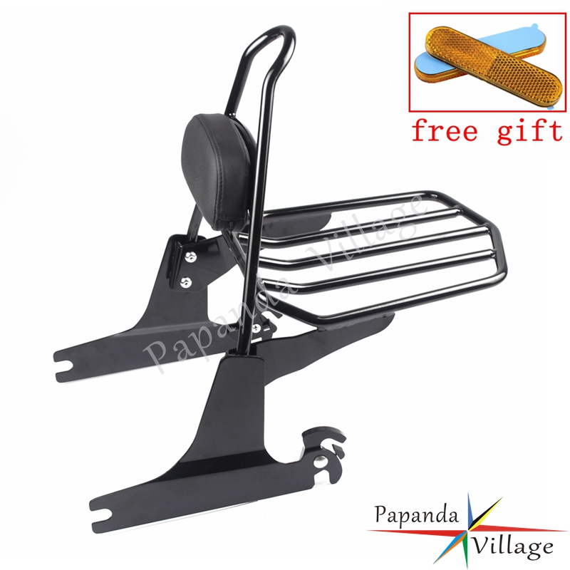 Motorcycle Black Sissy Bar Adjustable Luggage Rack Detachable Backrest Pad for Harley FXST FXSTB FXSTS FLSTFSE FLSTF FLSTFB in Covers Ornamental Mouldings from Automobiles Motorcycles