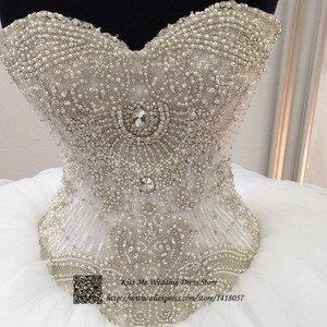 Image 2 - Rhinestones Ball Gown Luxury Wedding Dresses Beaded 2015 Tulle Lace up Custom Made Wedding Gowns Floor Length Vestidos de Noivas
