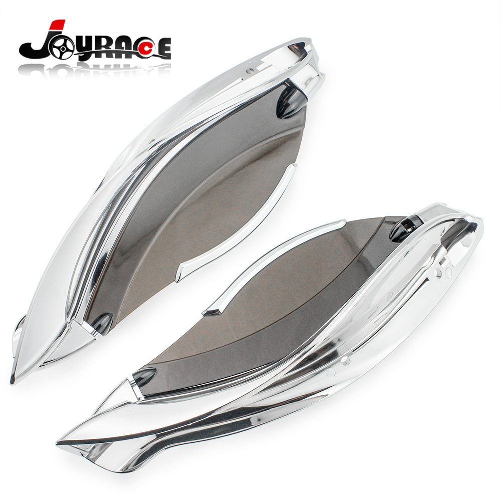 цена на Chrome Tinted Adjustable Batwing Fairing Air Deflectors Harley Touring 2014-2017