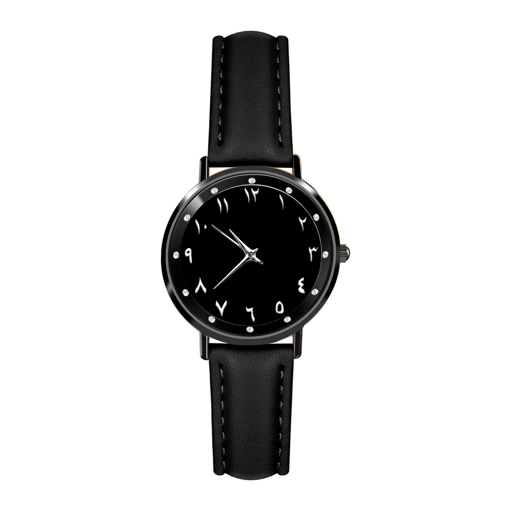 Arabic Numeral Black Women Watch. Leather Strap Crystals Face Watch Female faux leather strap floral face watch