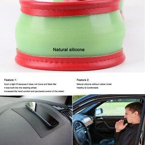 Image 5 - De cuero genuino protector para volante de coche ondulado las líneas de diseño universal de gel de sílice de dirección de la rueda de trenza de la serpiente PATRÓN DE LA PIEL La