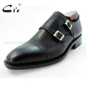 Image 3 - cie square captoe medallion double monk straps handmade leather men shoe100% genuine calf leather outsole breathable black MS46
