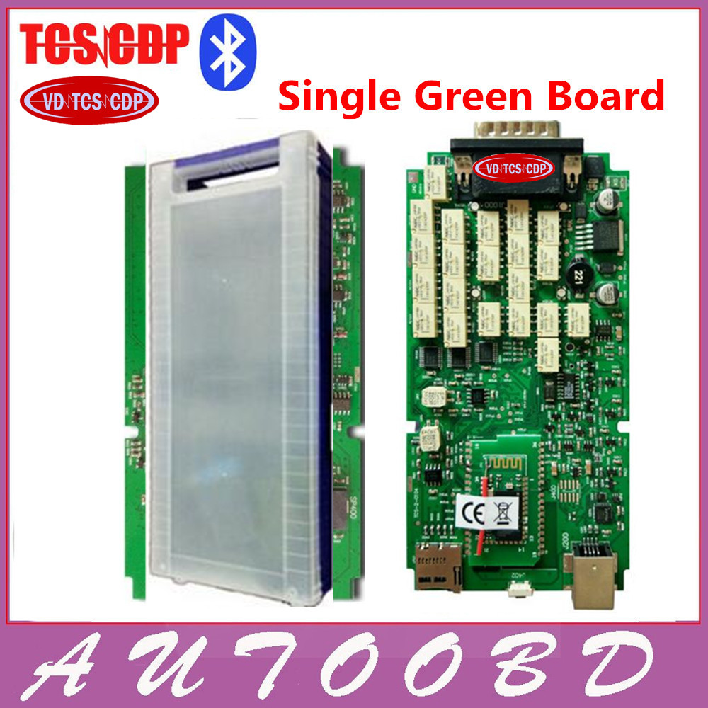 Quality A++Single One Green Board VD TCS CDP with Bluetooth 2014.R2/2015.R3 optional software+ Plastic Suitcase for Cars Trucks single green board multidiag pro 2014 r2 keygen