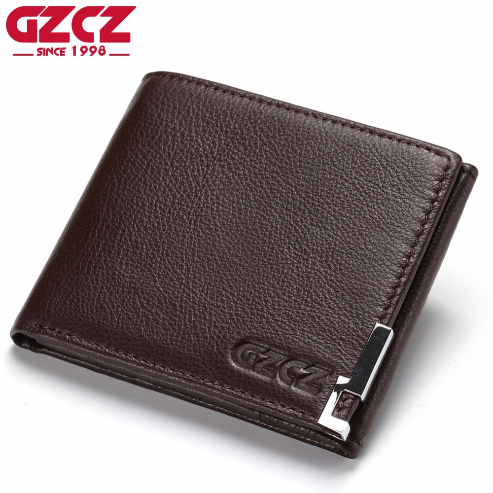 GZCZ Genuine Cow Leather Men Wallet Fashion Coin Pocket Luxury Brand Trifold Design Men Purse High Quality Male Card ID Holder