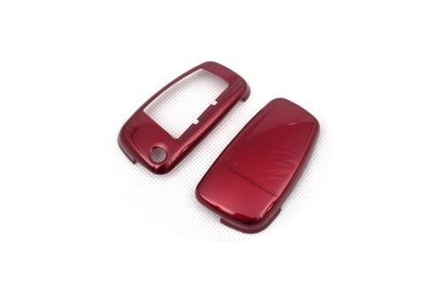 Блеск металлик Цвета жесткий Пластик без ключа дистанционного флип чехол ключ защиты Обложка для Audi - Название цвета: Красный