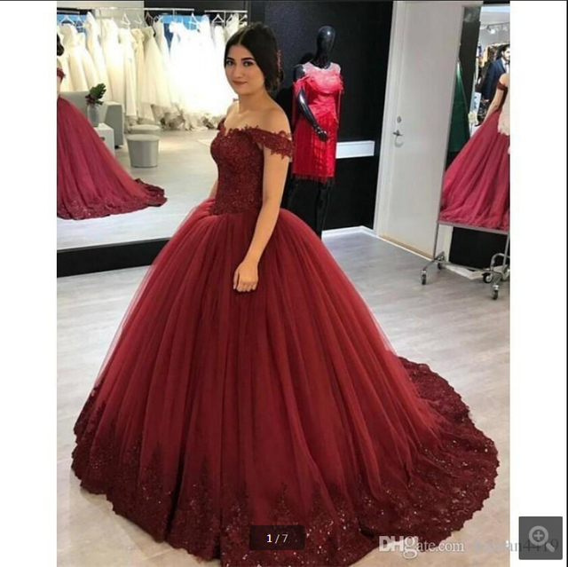 c1ed0b30cf50 Off Shoulder Burgundy Lace Appliques Beads prom dresses sweet 16 Arabic Long  Puffy Tulle Plus Size Party Prom Gowns