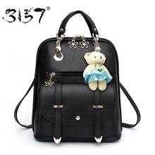 Ours pendentif femmes en cuir sac à dos sacs d'école pour les adolescents filles preppy style mignon sac à dos féminin 3157 sac à dos femme