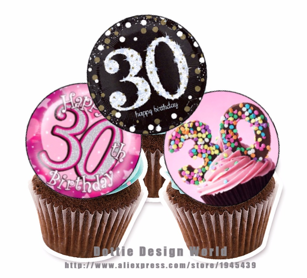 24 Adult 30th Birthday Edible cake topper wafer rice paper ...