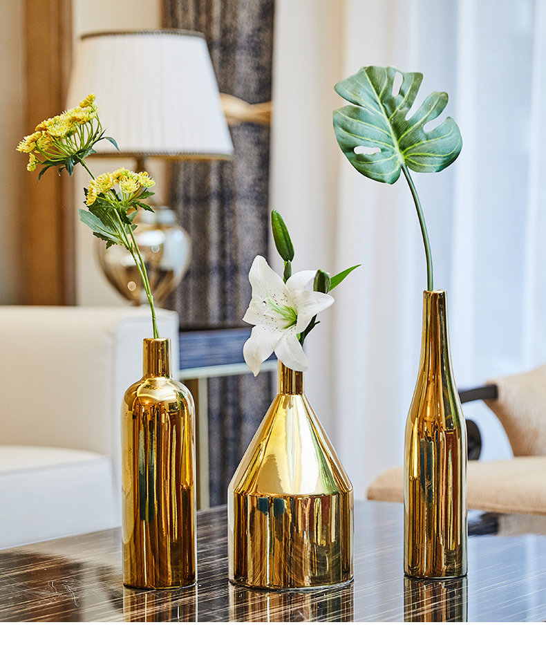 European vase decoration living room flower arrangement ceramic creative Nordic golden American table