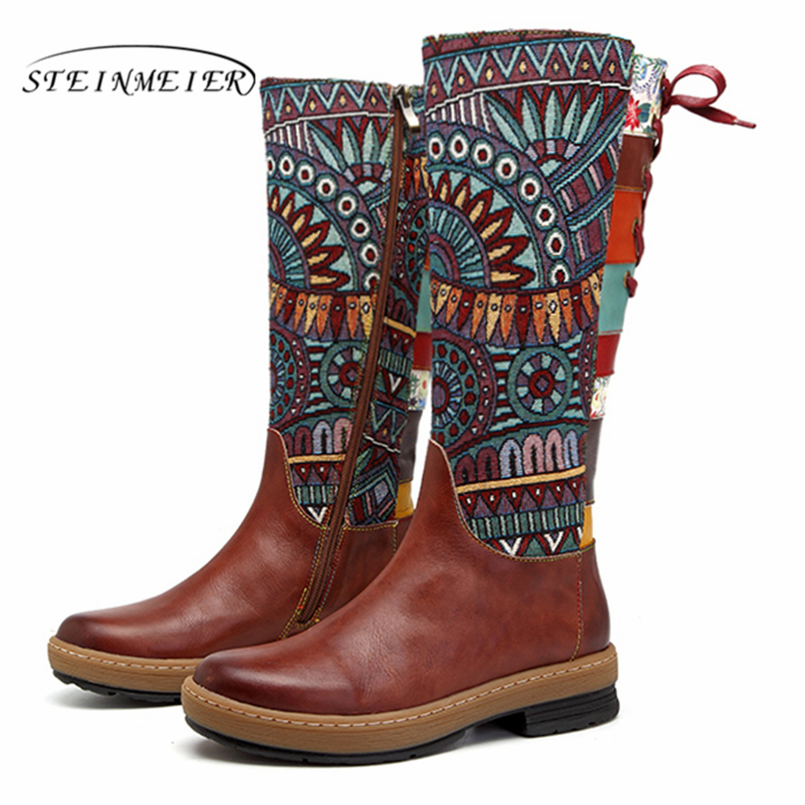 Women winter Boots Genuine cow Leather Comfortable quality soft Shoes handmade Bohemian warm long boots over the knee boot 2019-in Knee-High Boots from Shoes    2