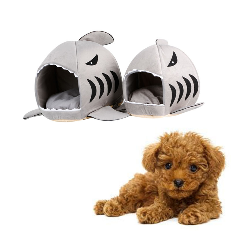 Cute 1PC Sponge Dog Beds Shark Mouth Pet Dog Cat House Removable Washable Cartoon Dog Bed Kennel Funny Supplies S004 in Houses Kennels Pens from Home Garden