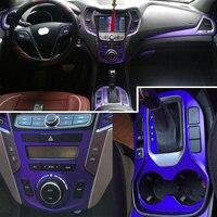 Car Styling 5D Carbon Fiber Car Interior Center Console Color Change Molding Sticker Decals For Hyundai SantaFe IX45 2013 2017