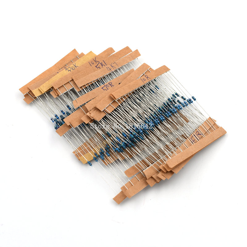 300PCS 1/6W & 1/8W 1% Metal Film Resistor Kit 10 Ohm - 1M Ohm Color Ring Resistance 10R-1MR Resistor Assorted Set 30 Values