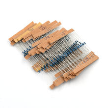 Resistor de filme metálico, kit de resistor de filme metálico de 1/6w e 1/8w 300 com 1% peças, 10 ohm-1m ohm cor anel resistência 10r-1mr conjunto de 30 valores