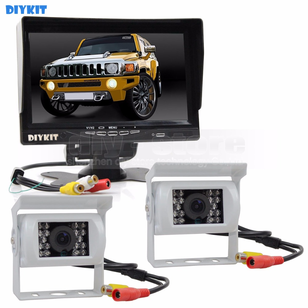 DIYKIT IR Night Vision CCD Rear View Car Camera White + 7 inch HD TFT LCD Car Monitor Reverse Rear View Monitor Screen diysecur 4pin dc12v 24v 7 inch 4 split quad lcd screen display rear view video security monitor for car truck bus cctv camera