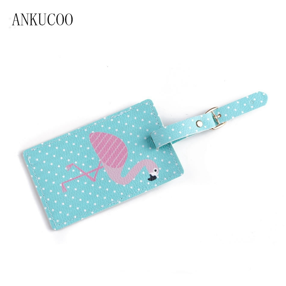 Travel Accessories Luggage Tag Creative Flamingo Map PU Leather Suitcase ID Address Holder Baggage Boarding Tags Portable Label