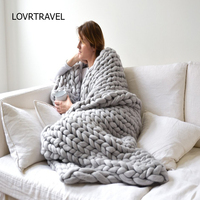 LOVRTRAVEL Fashion Soft Autumn And Winter Warm Hand Chunky Knitted Sofa Blanket Thick Yarn Merino Wool