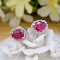 New Wedding Red Ruby Earrings,14K White Gold Diamond Ruby Engagement Earrings E003