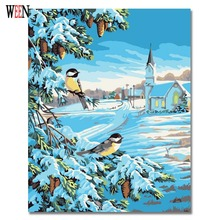 Magpie Snow Painting By Number DIY Hand Painted On Canvas Coloring By Number Christmas gift Home Decor Wall Arts Frameless