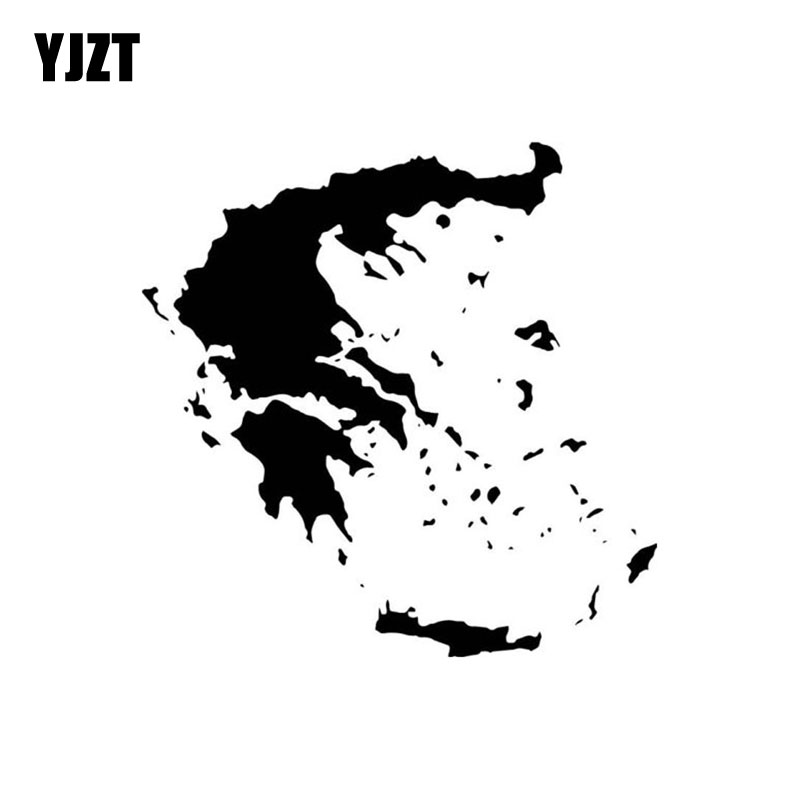 YJZT 15CMX15CM Greece Map Vinyl Black/Silver Car Sticker Decal Graphical C18-0015