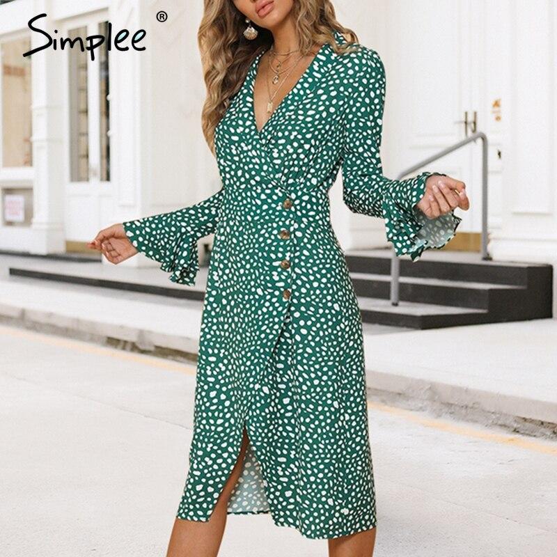 Simplee Vintage dot split femmes robe Imprimer col v flare manches à volants midi d'été femelle robe Sexy vert moulante partie robe