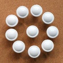 10 pc redondo de cerámica mando blanco tiradores de tocador tira armario cocina puerta perilla para muebles Hardware