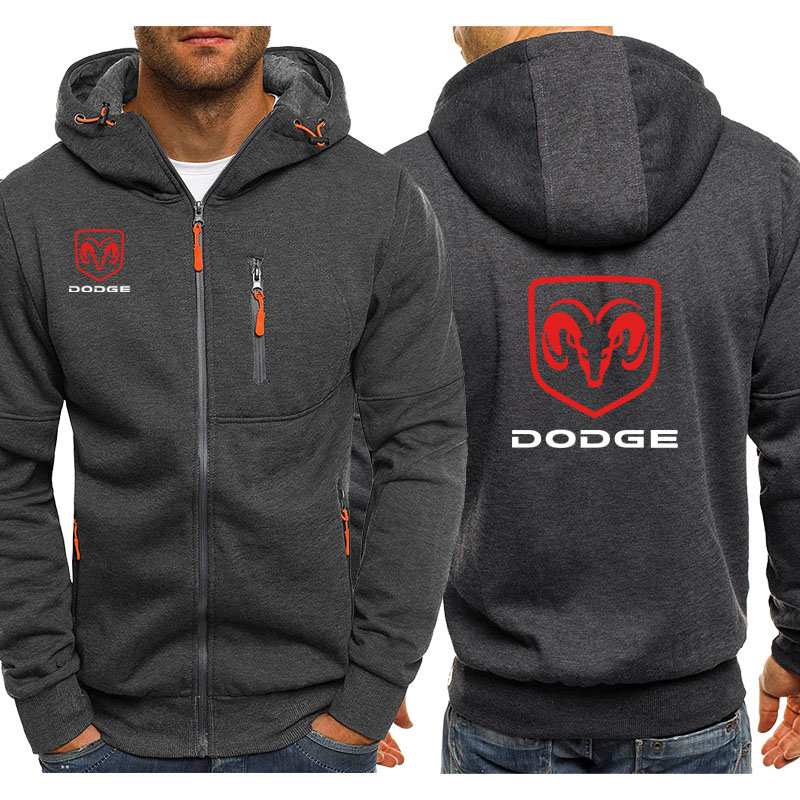 Hoodies Men Dodge Car Logo Print Casual Hip Hop Harajuku Long Sleeve Hooded Sweatshirts Mens Zipper Jacket Man Hoody Clothing