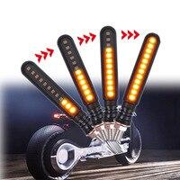 1 par universal motocicleta turn signal light 24 led flexível indicador de cauda dobrável pisca f-melhor